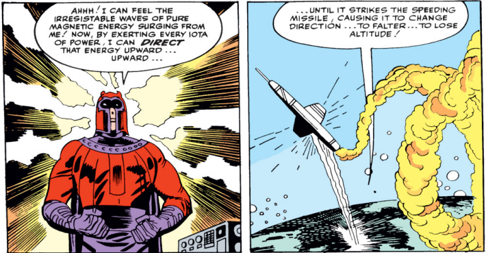 Keep in mind, Magneto is talking to an empty room.