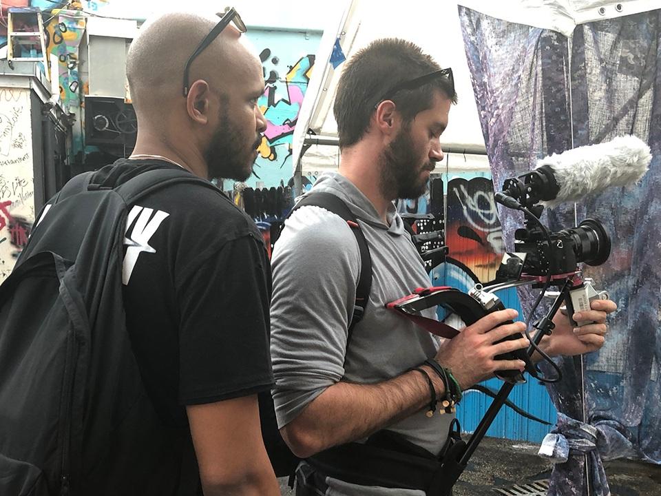 Co-directors Gerard & Greg shooting in Miami.