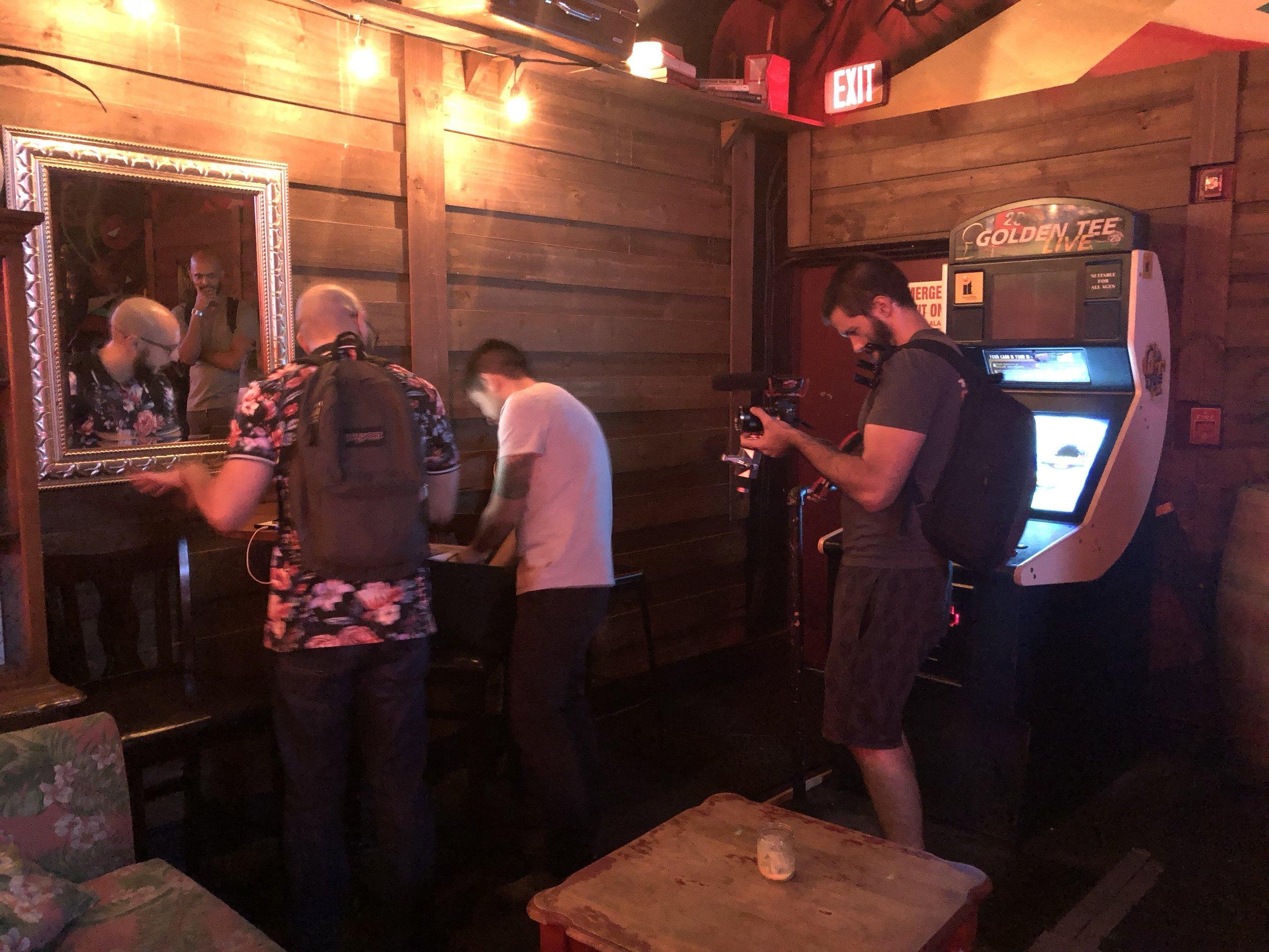 Behind the scenes: Sebastian Mattar and Manny Garavito chatting and preparing for a Miami Comedy  show at Redbar in Brickell.