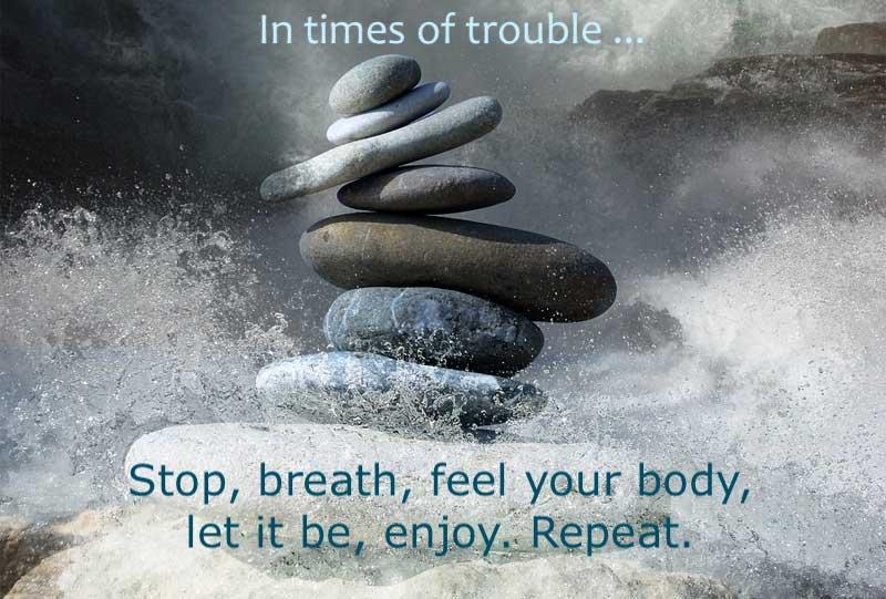 En momentos difíciles: detente, respira, conéctate con tu cuerpo, deja que sea lo que es, disfruta. Repite.