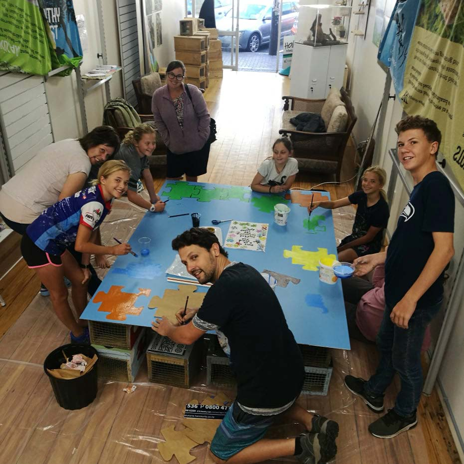 Kaitiaki Kadets (Junior Halo/KiwiTrust) painting their mural for CReW at Halo in The Strand 2019