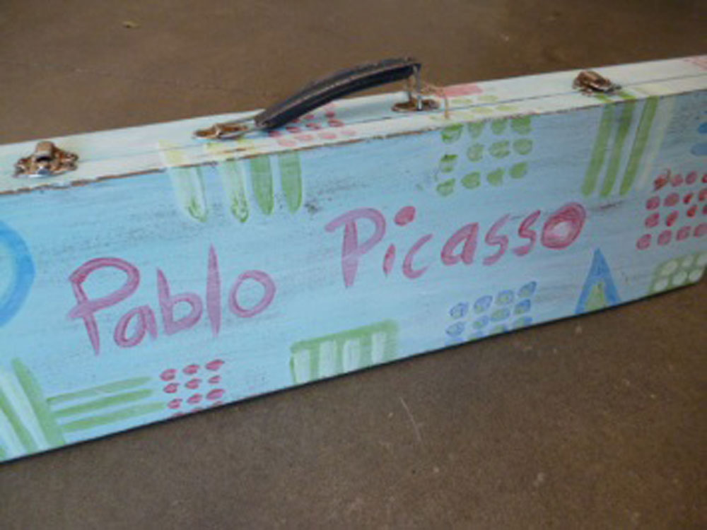 Upcycled 'Pablo Picasso' suitcase by Bridget Thornton