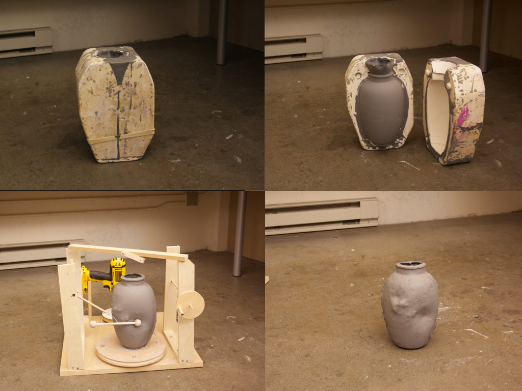 Prototype #1 Process: Each vase is cast from the same mold. When the clay is still damp and sensitive for any move, vases got randomly deform by the machine.