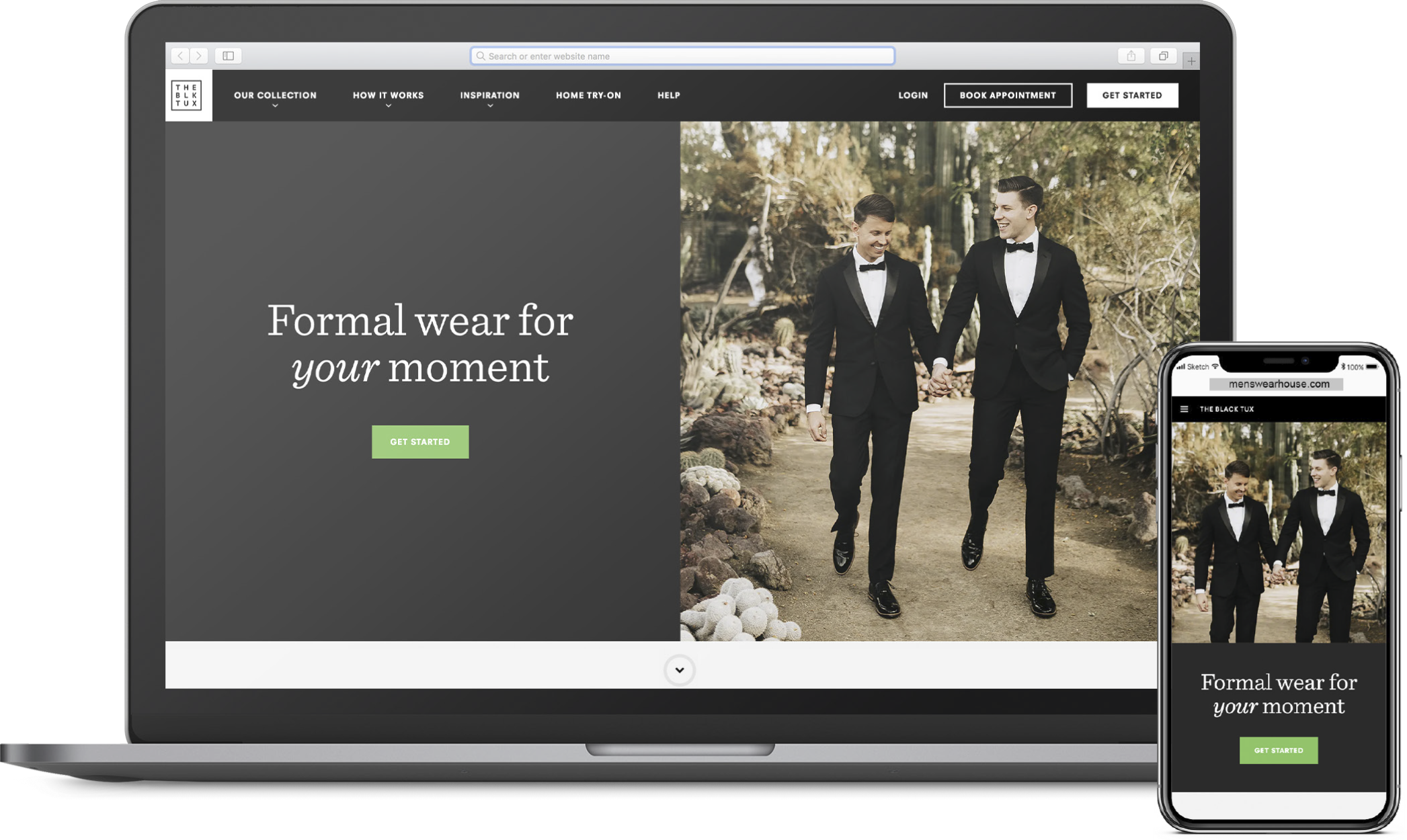 The Black Tux:  Online tuxedo rental. Available to try on in-store at select Nordstrom locations.