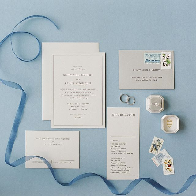 Did I mention I love blue and dove grey? This elegant invitation suit created by @writtenwordcalligraphy is so well balanced!  @heirloombindery @the_mrs_box  #sfwedding #sanfranciscoweddingphotographer #sanfranciscowedding ing #sfweddingphotographer #bayareaweddingphotographer #filmphotography #foodstyling #eventcatering #richardphotolab