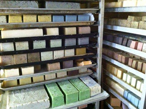 Look at all those soaps! Here's the curing racks for    Soap By The Loaf   , one impressively industrious soap maker!