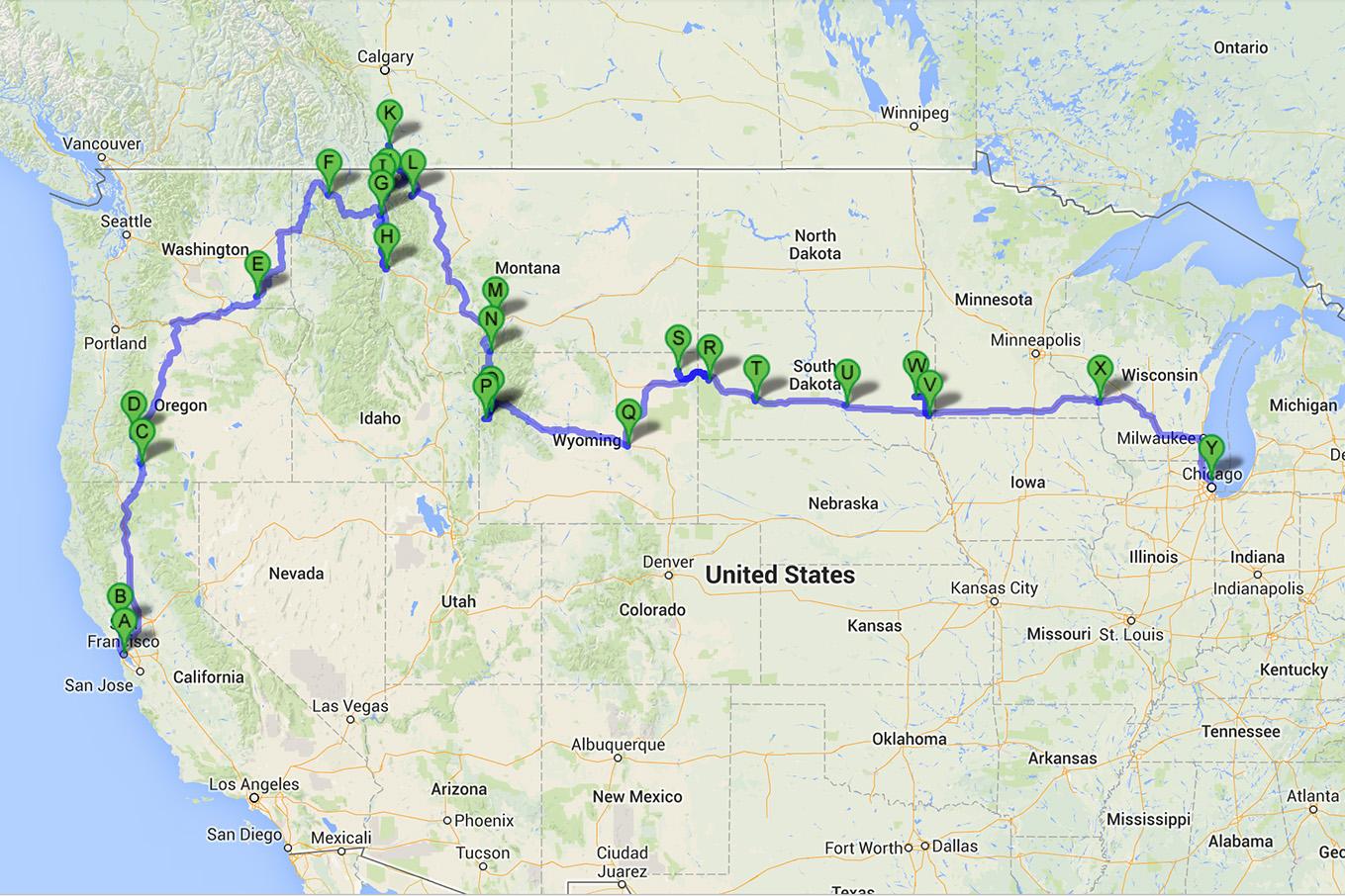Map_Roadtrip Eastbound SF to Chicago