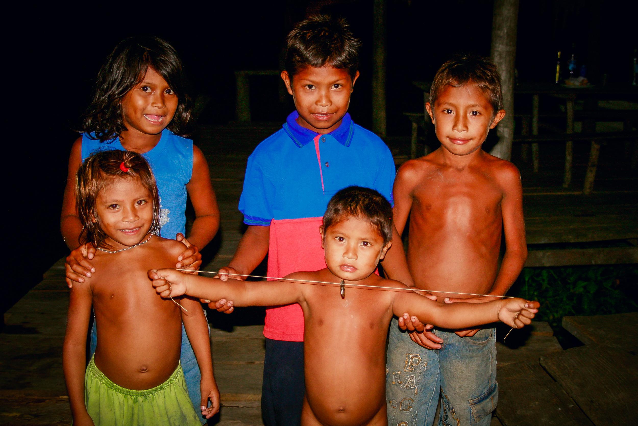 Warao kids living along Orinoco River, Venezuela