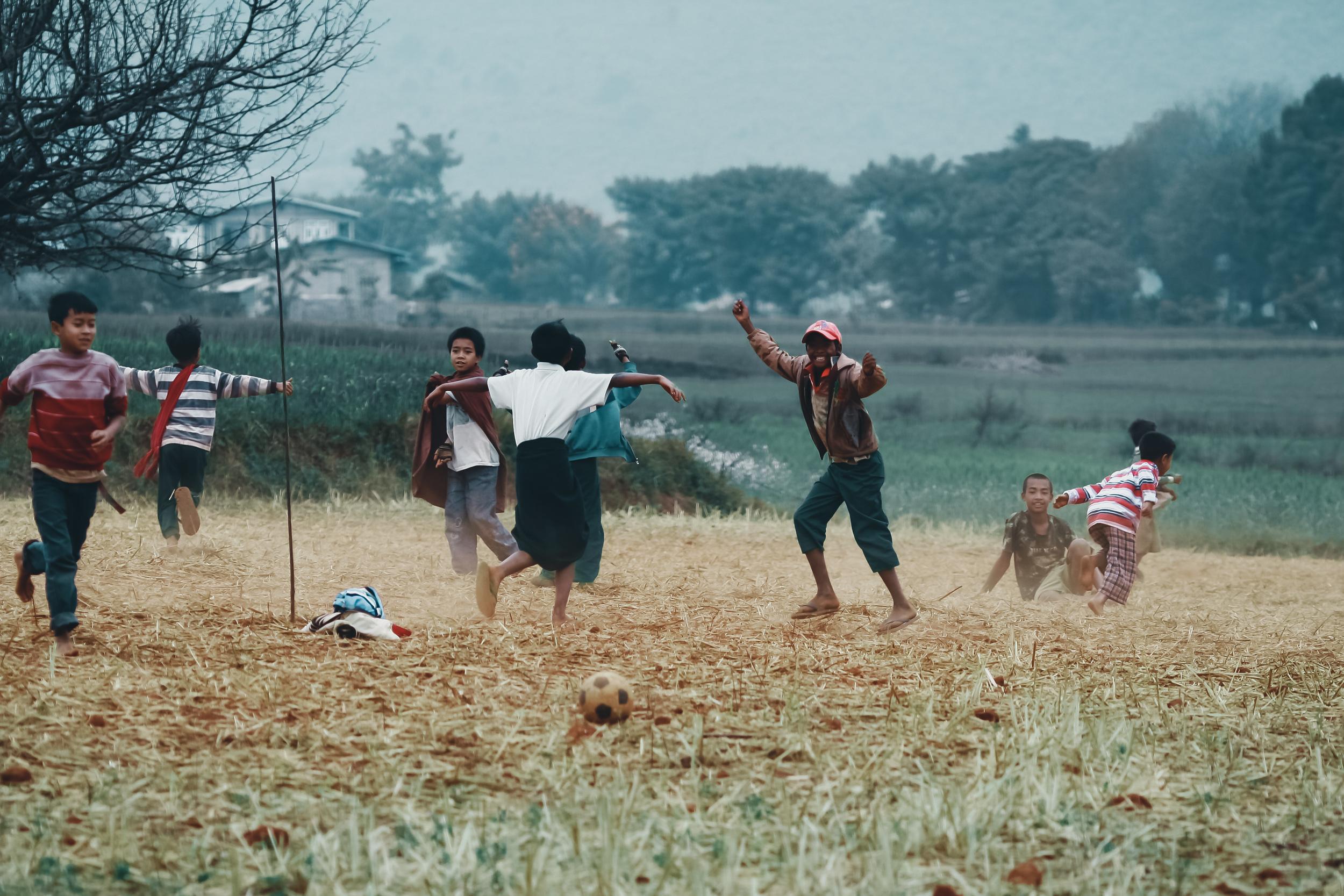 Happy kids in a small village, Myanmar