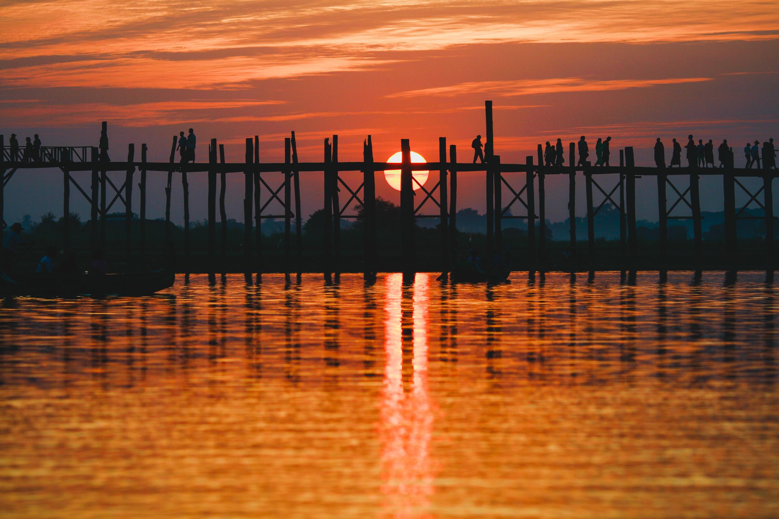 Sunset at U Bein Bridge, Amarapura, Myanmar