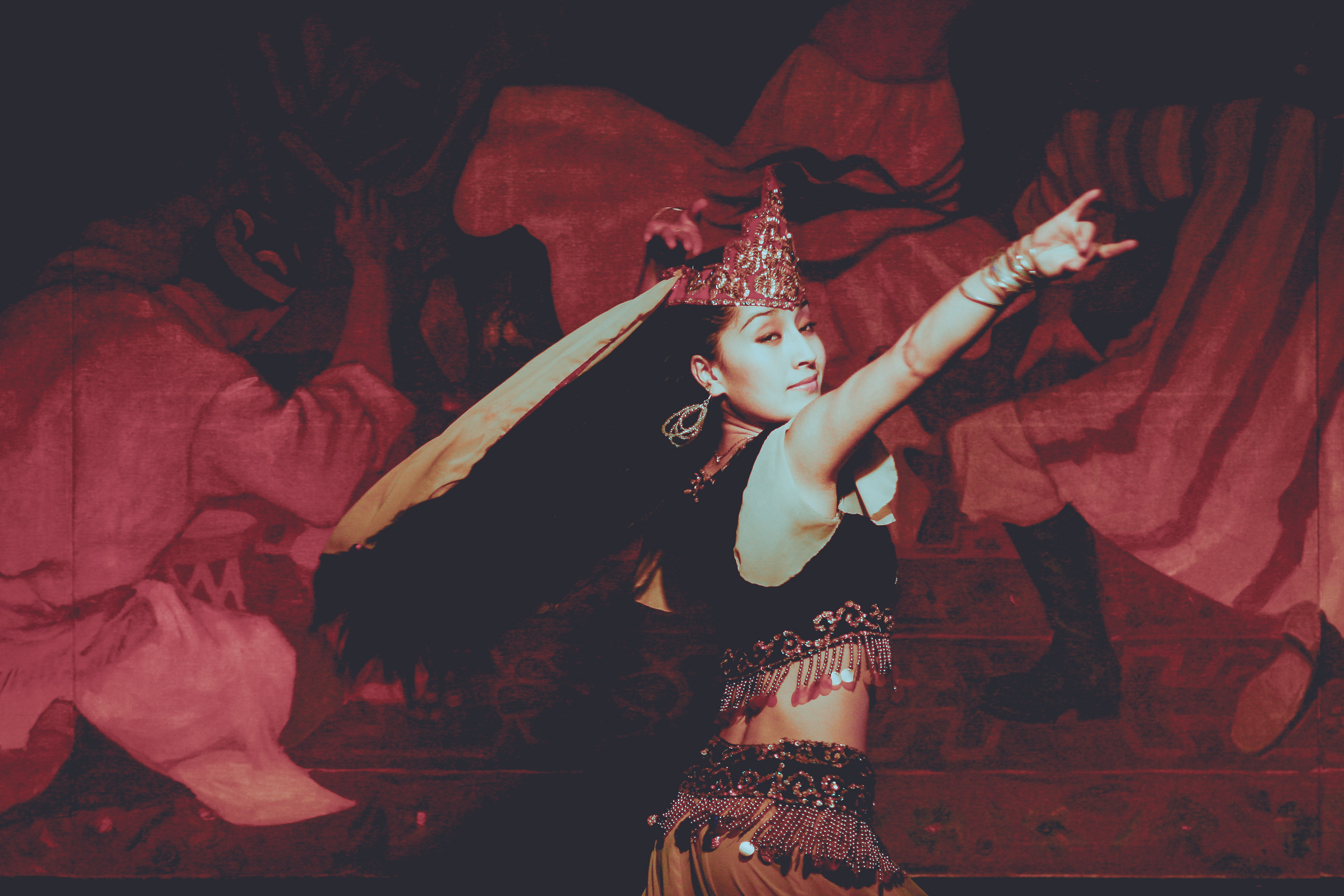 Xinjiang folk dancer at Red Rose Restaurant in Beijing