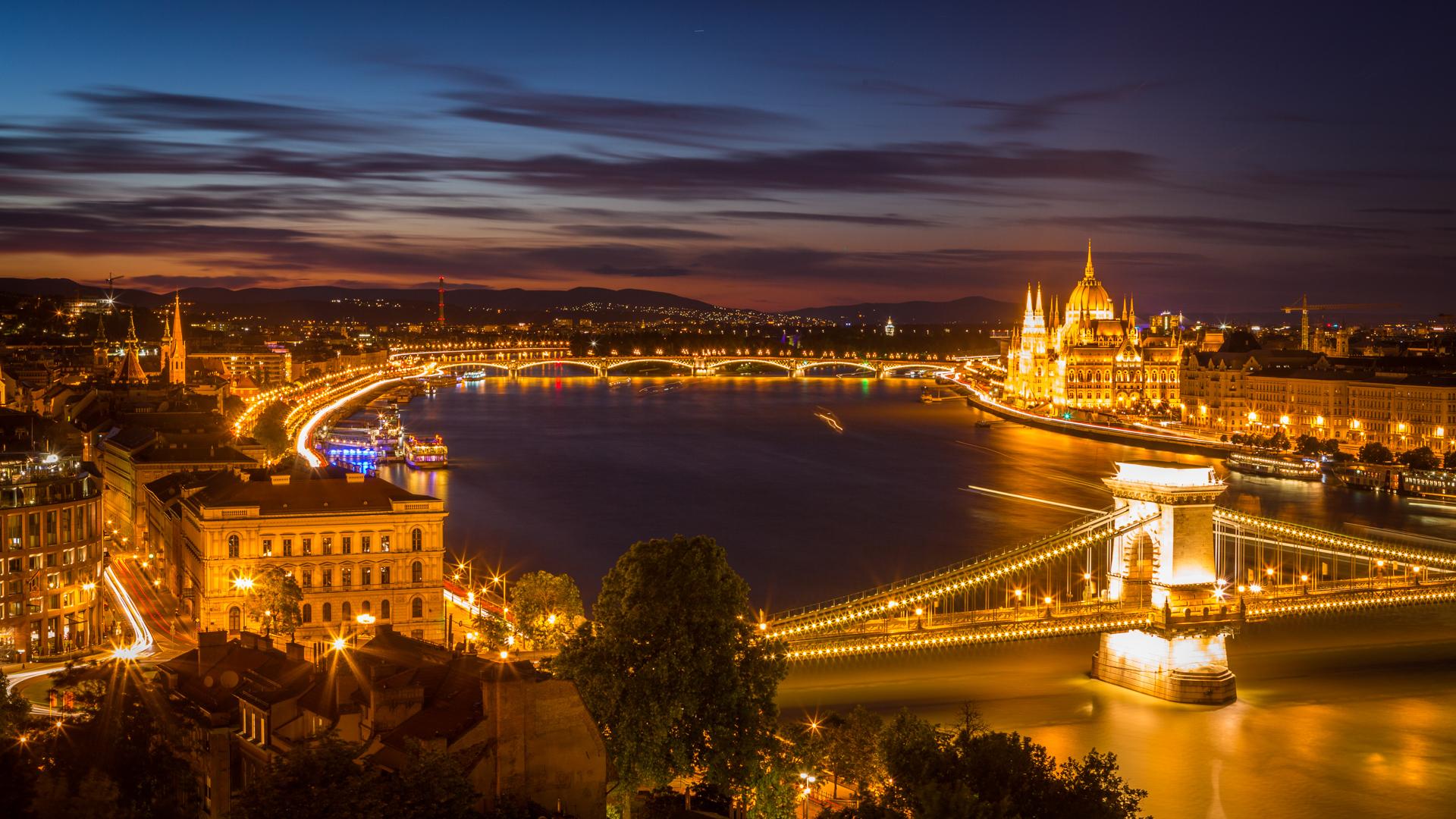Night view of Budapest, Hungary, Jul 1, 2018