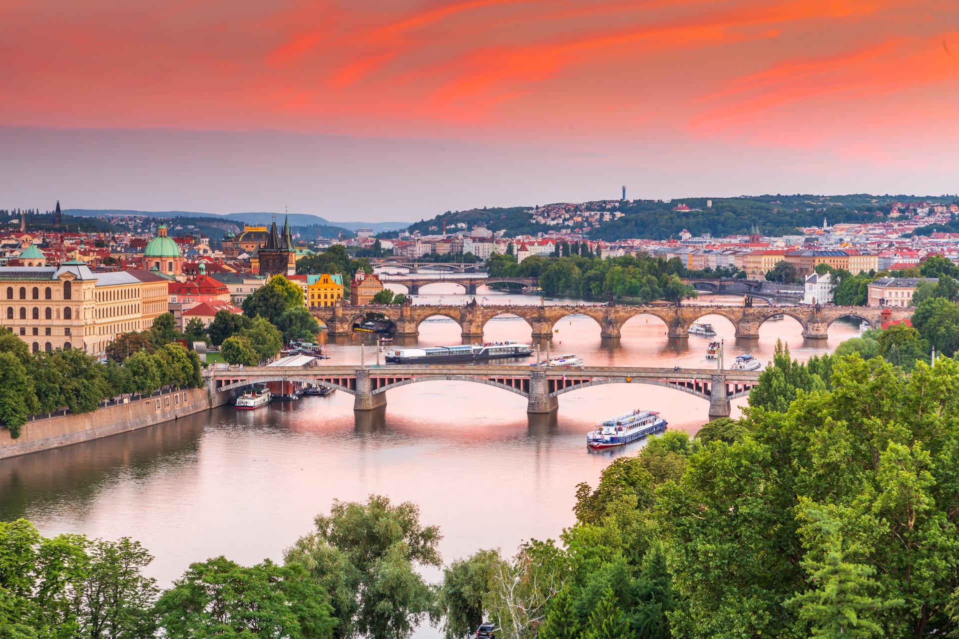 Prague in sunset, July 6, 2018