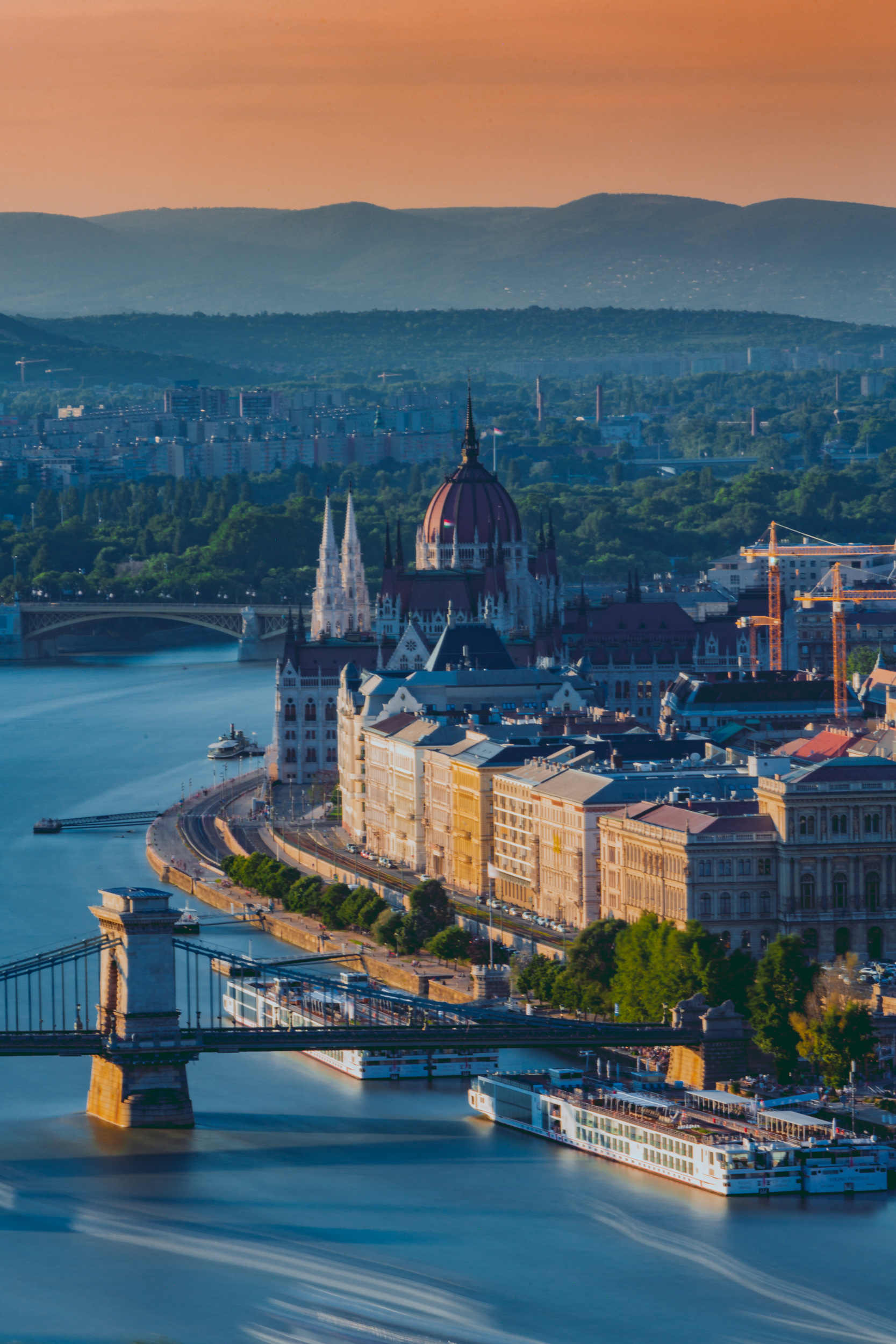Hungarian Parliament Building and Chain Bridge from Gellért Hill