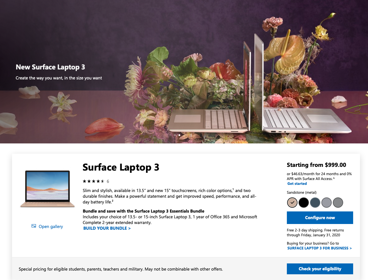 Microsoft includes everything-but-the-kitchen-sink on their Surface Laptop page, including shipping and financing details, customer reviews, and redundant labels that compete with one another.