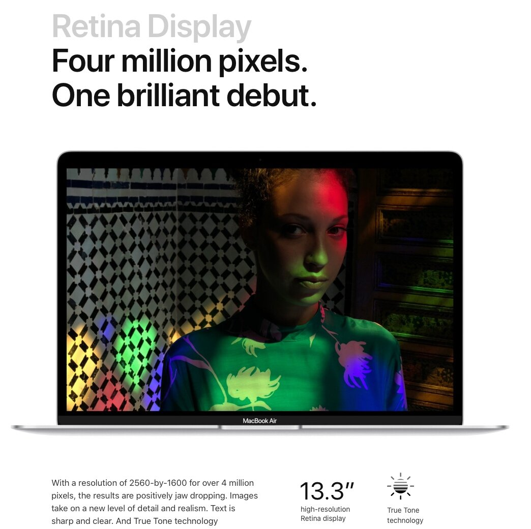 Apple thoughtfully uses white space to focus attention on the brilliant display of their newest MacBook Air.
