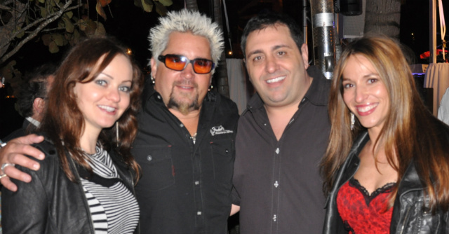 2010 South Beach Wine & Food Festival: Guy Fieri (middle-left), Michael Esshaki (middle-right), Founder of Zip Sauce