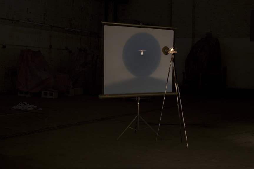 Projector Candle, lens, screen and stand, 2011