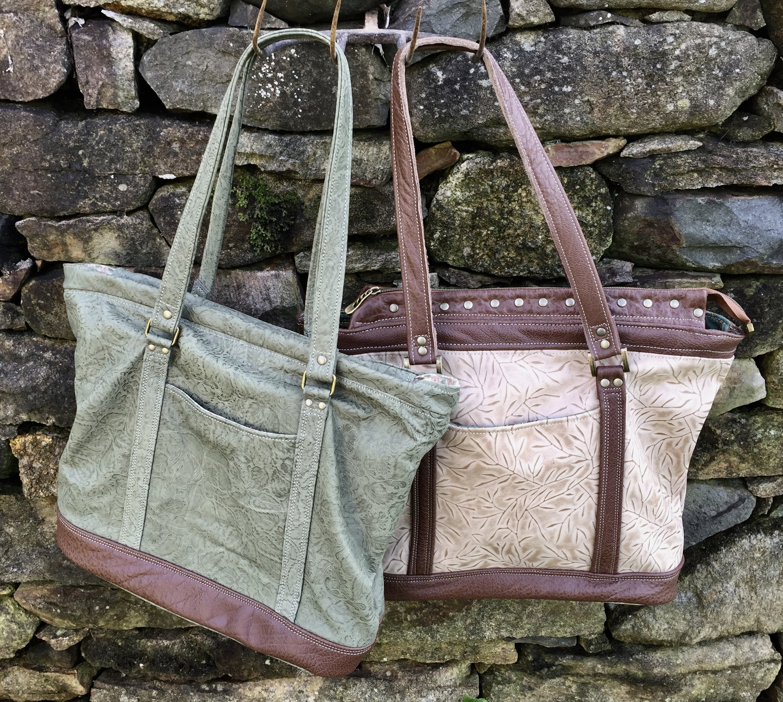 Bluebell Totes - embossed leather/cotton fabric lined