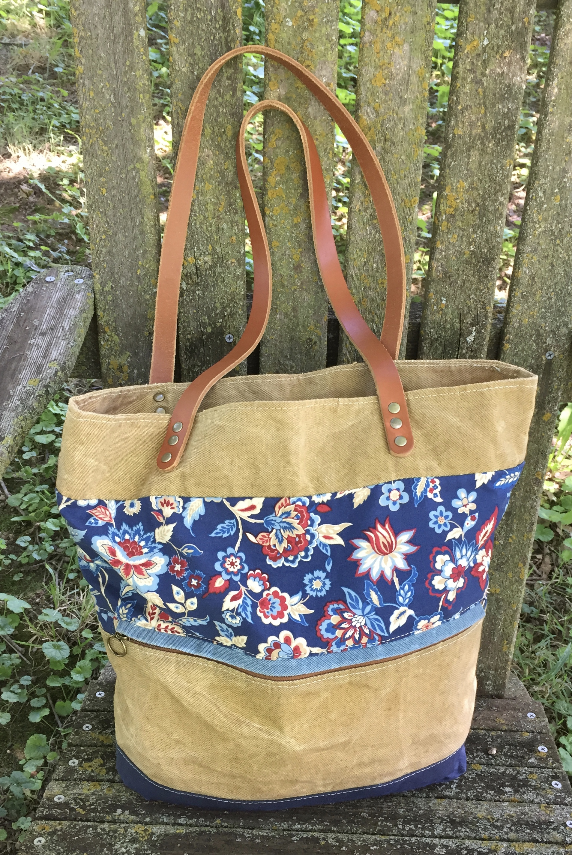 Waterlily Tote - waxed canvas/cotton fabric