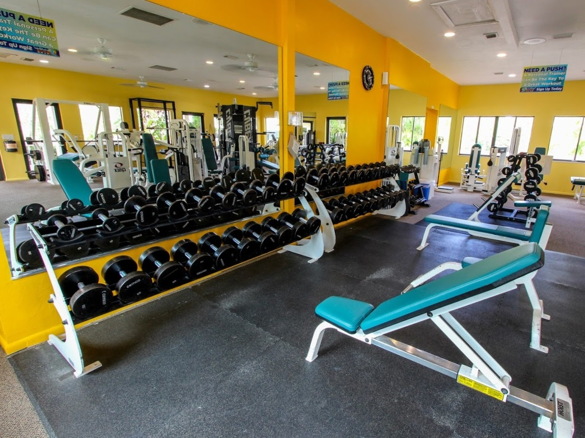 FULLY EQUIPPED WEIGHT ROOM  Everything you need for a great workout. Free weights (Barbells, Dumbbells), Selectorized Cybex Equipment, Cross-Cables, High/Low Cables, Dips, Squat Rack, Smith Machine and more!