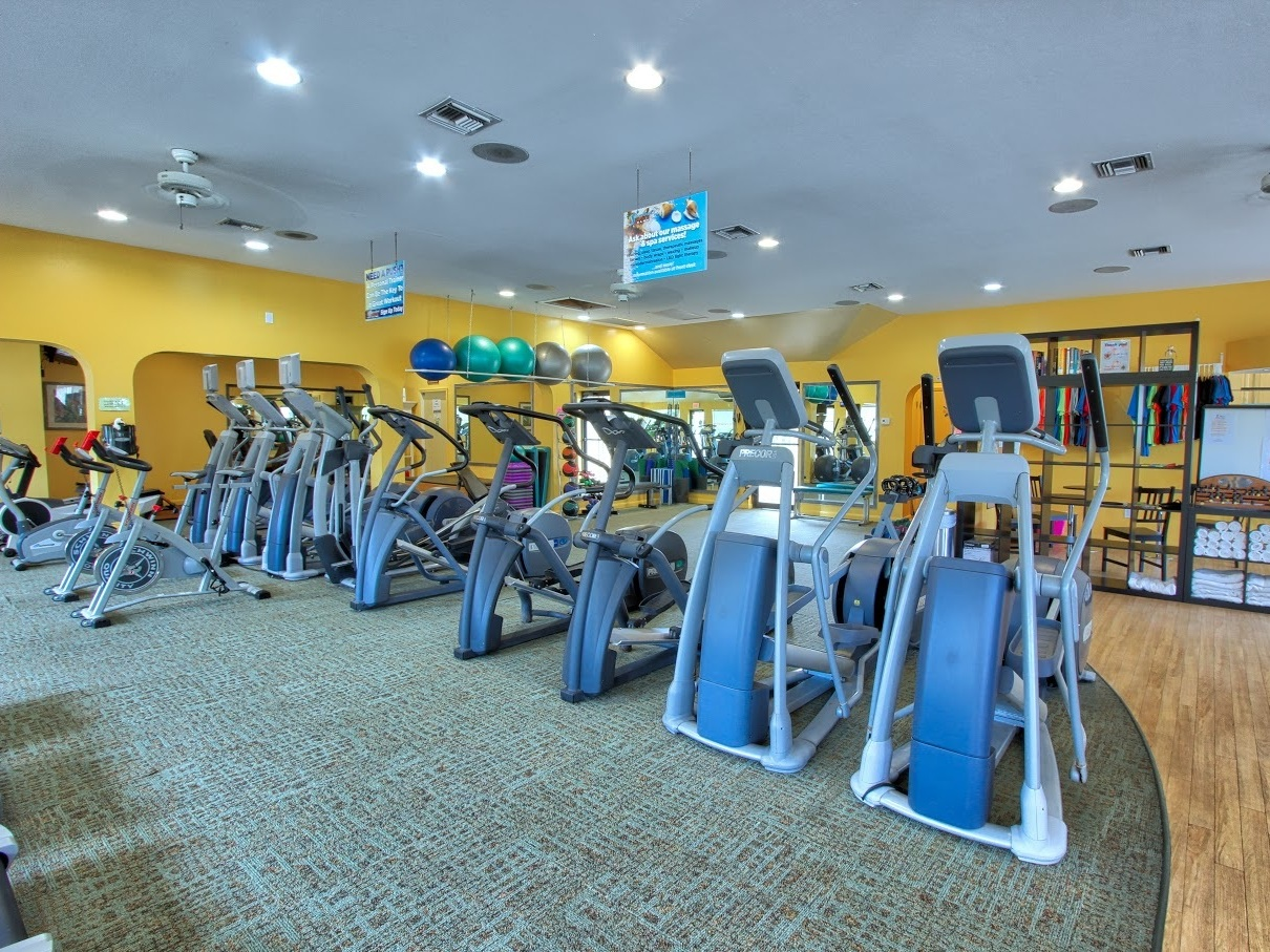 LARGE CARDIO & STRETCHING AREAS  If you love cardio and flexibility we have a room just for you with ellipticals, steppers, treadmills, rowing machine, bikes, stretchy bands, to name just a few. (And TVs to keep you entertained.)