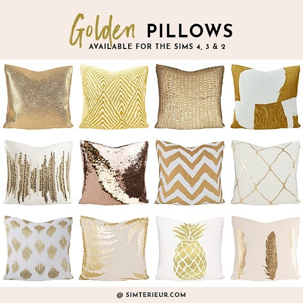 Golden Pillows for The Sims 4, 3 & 2! Download @ Simterieur.com  #ts4 #ts4cc #ts3 #ts3cc #ts2 #ts2cc