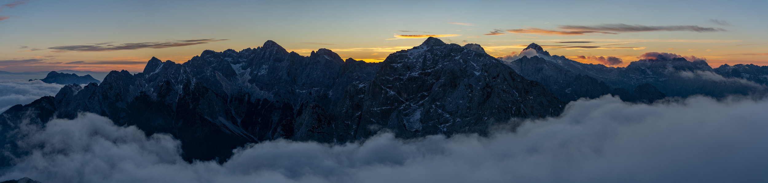 Panoramic view of the Julian Alps from Mt. Mala Mojstrovka (2332 m).