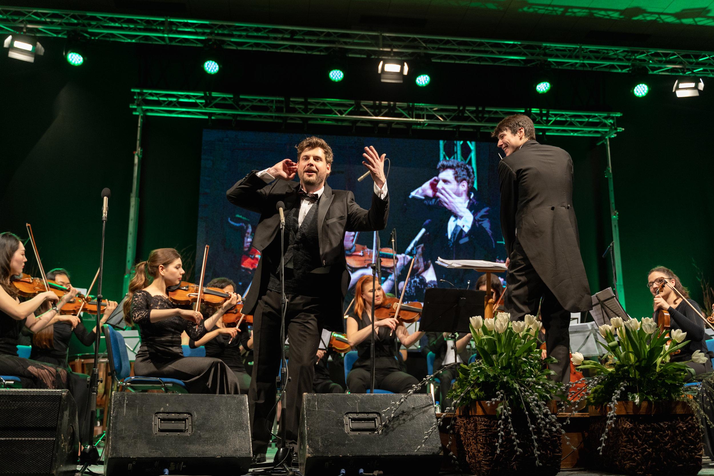 Singer Aljaž Vesel and conductor Andrej Vesel