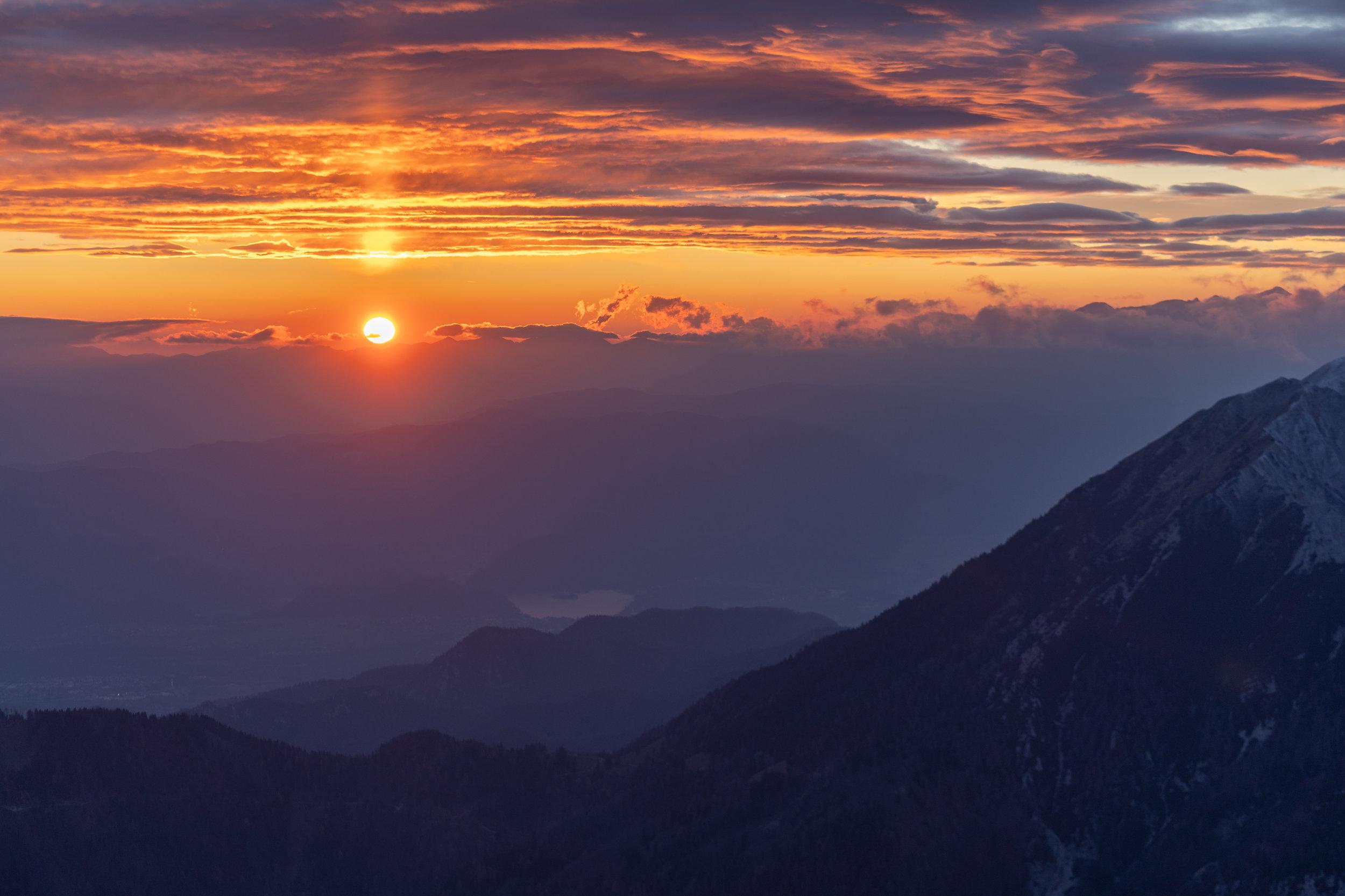 Sunset above Lake Bled.