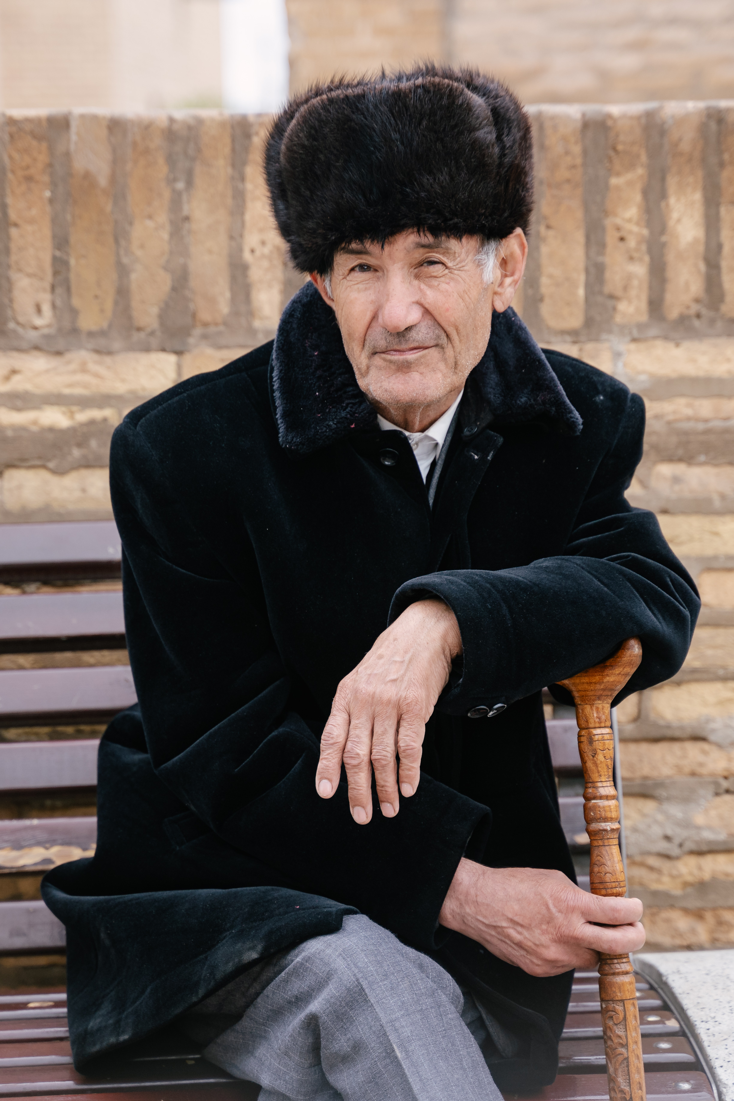 Man with a fur hat.