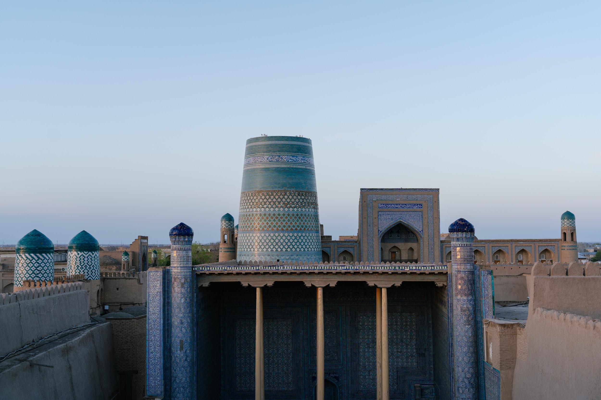 The palace and minaret at dawn.