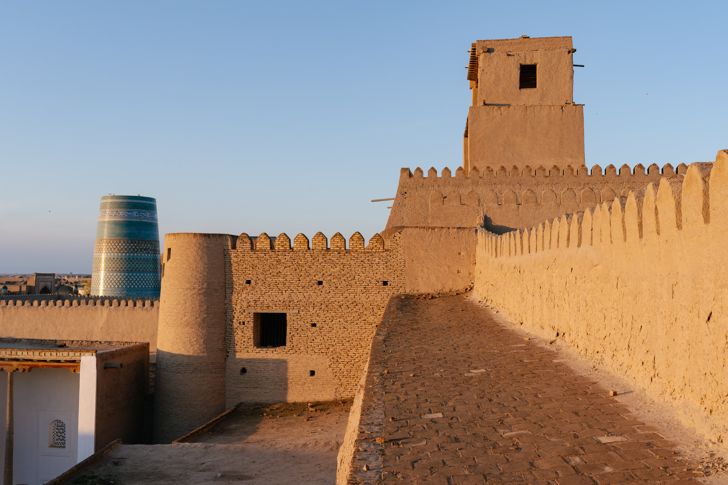 The wall and palace at sunrise.