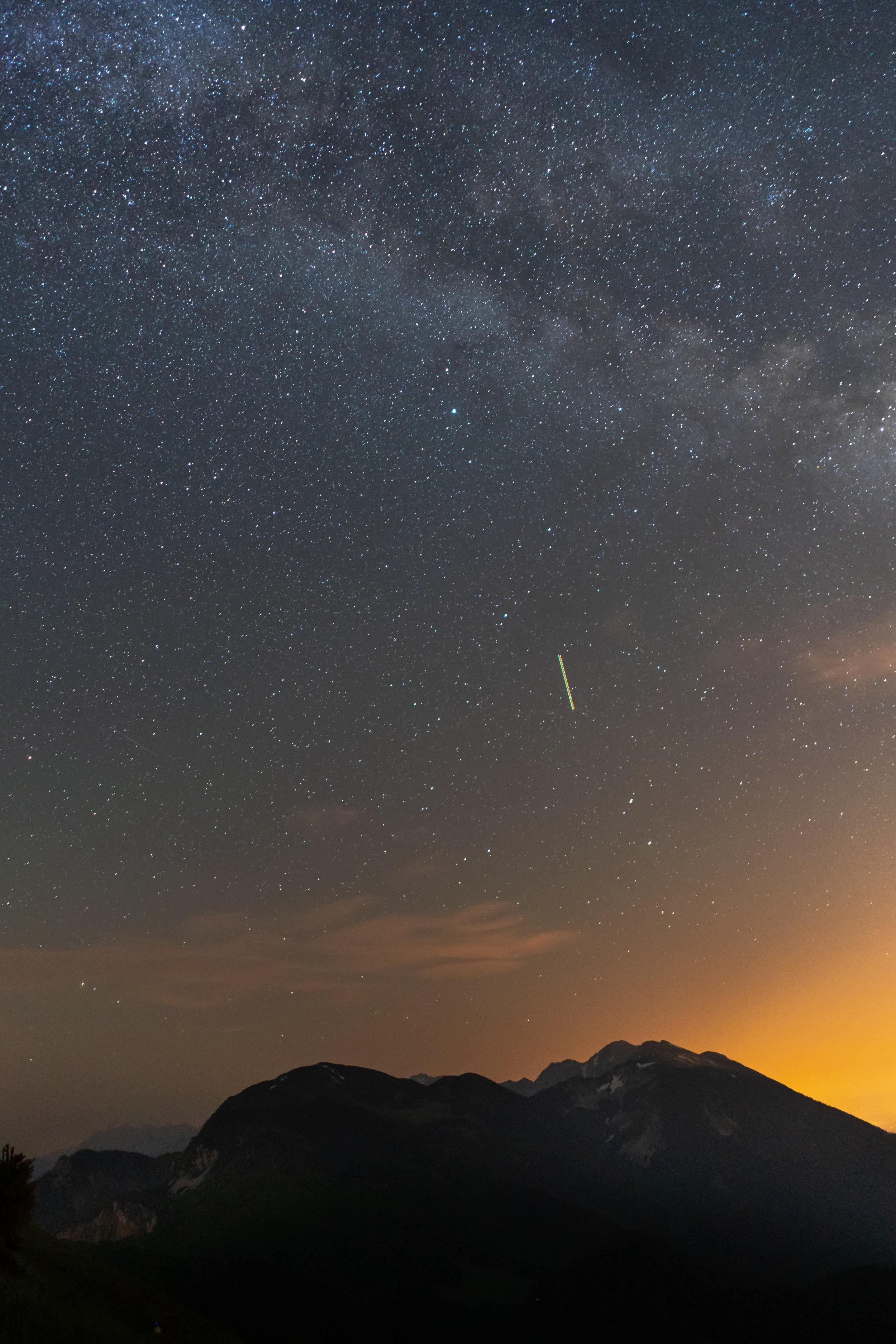 Stars above Mt. Stol, the highest peak in the Karawanks.