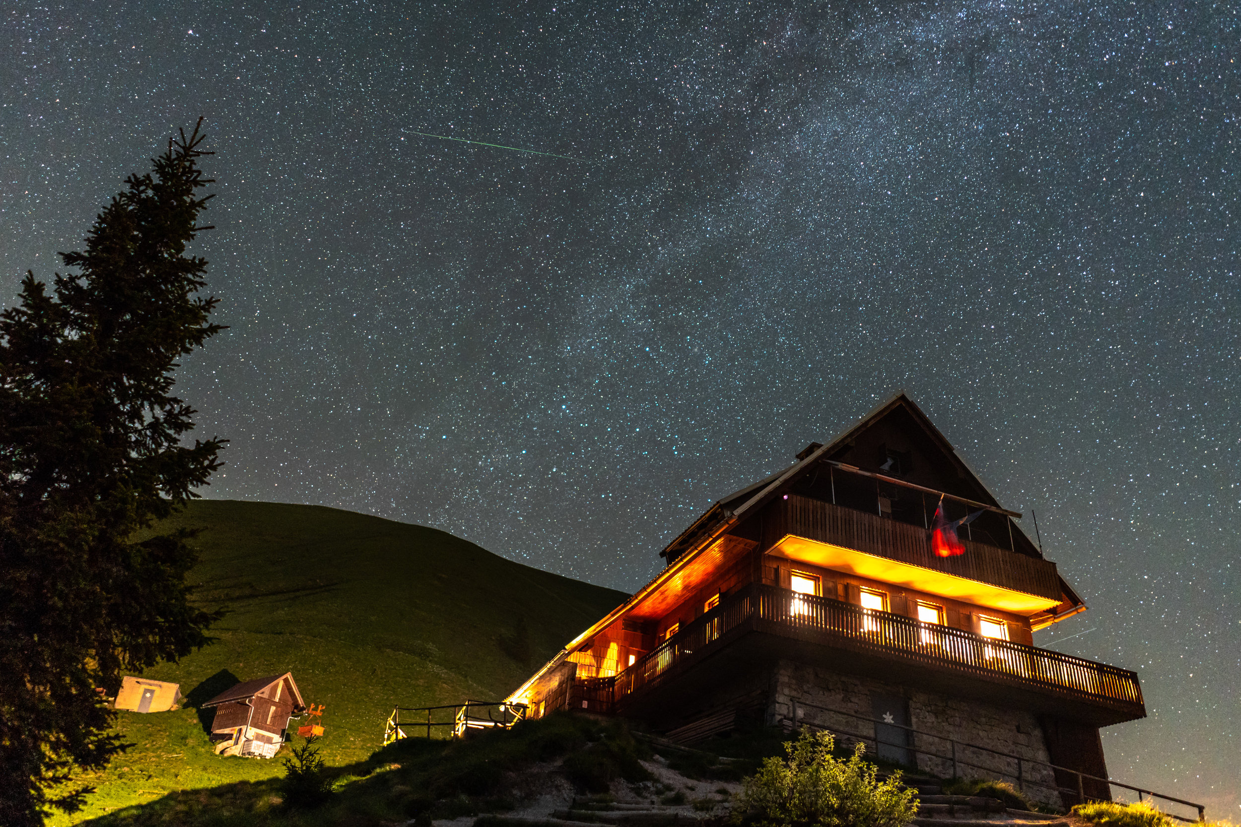 The Milky way above the mountain hut on Mt. Golica.