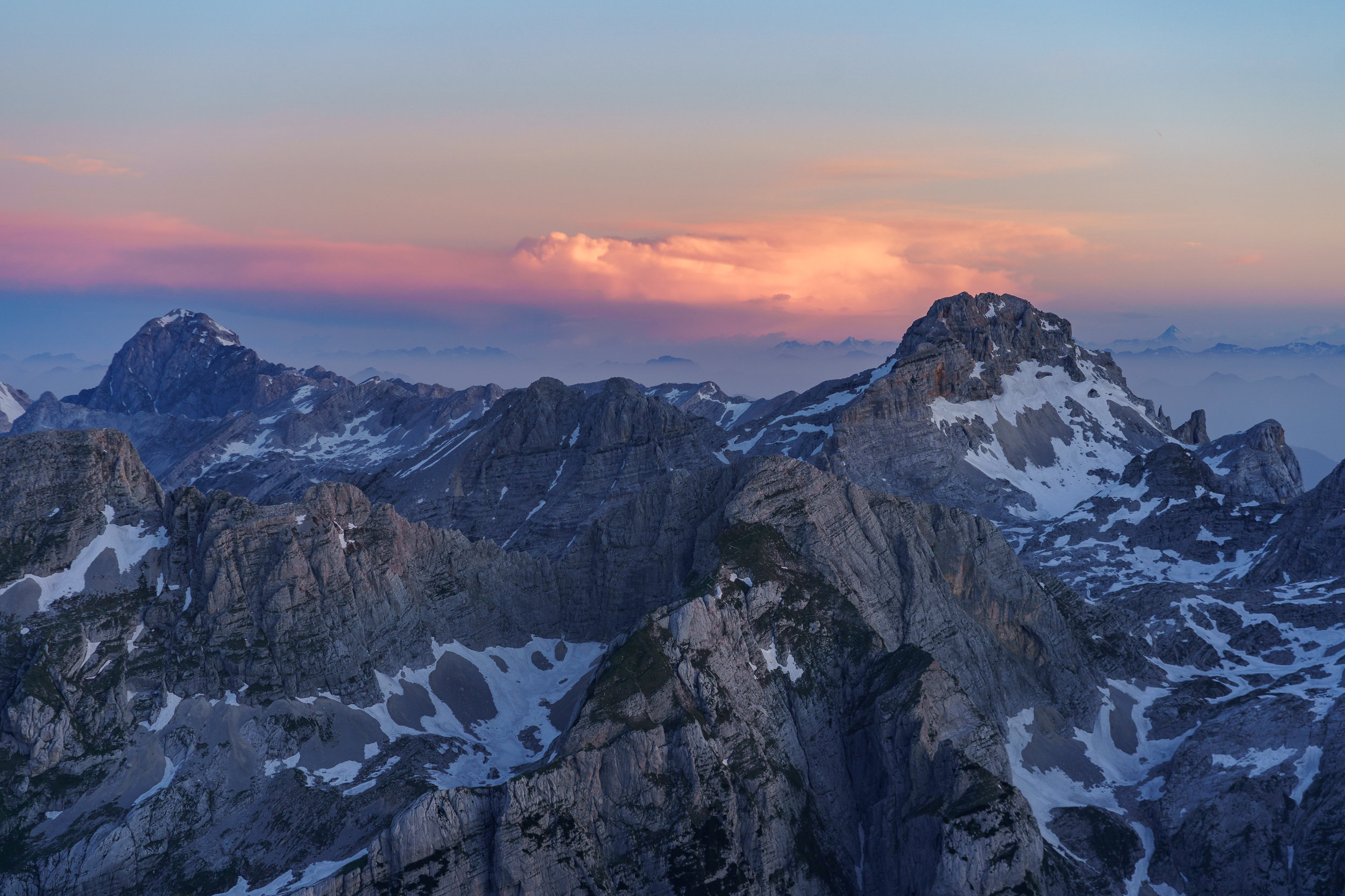 Mt. Mangart and Mt. Razor at dawn.