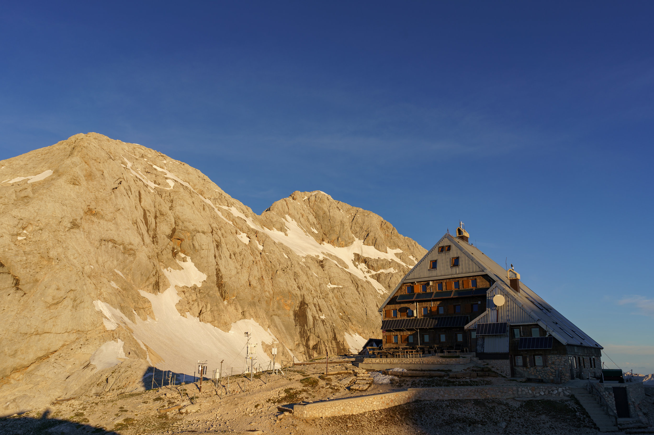 Kredarica mountain hut and Mt. Triglav.
