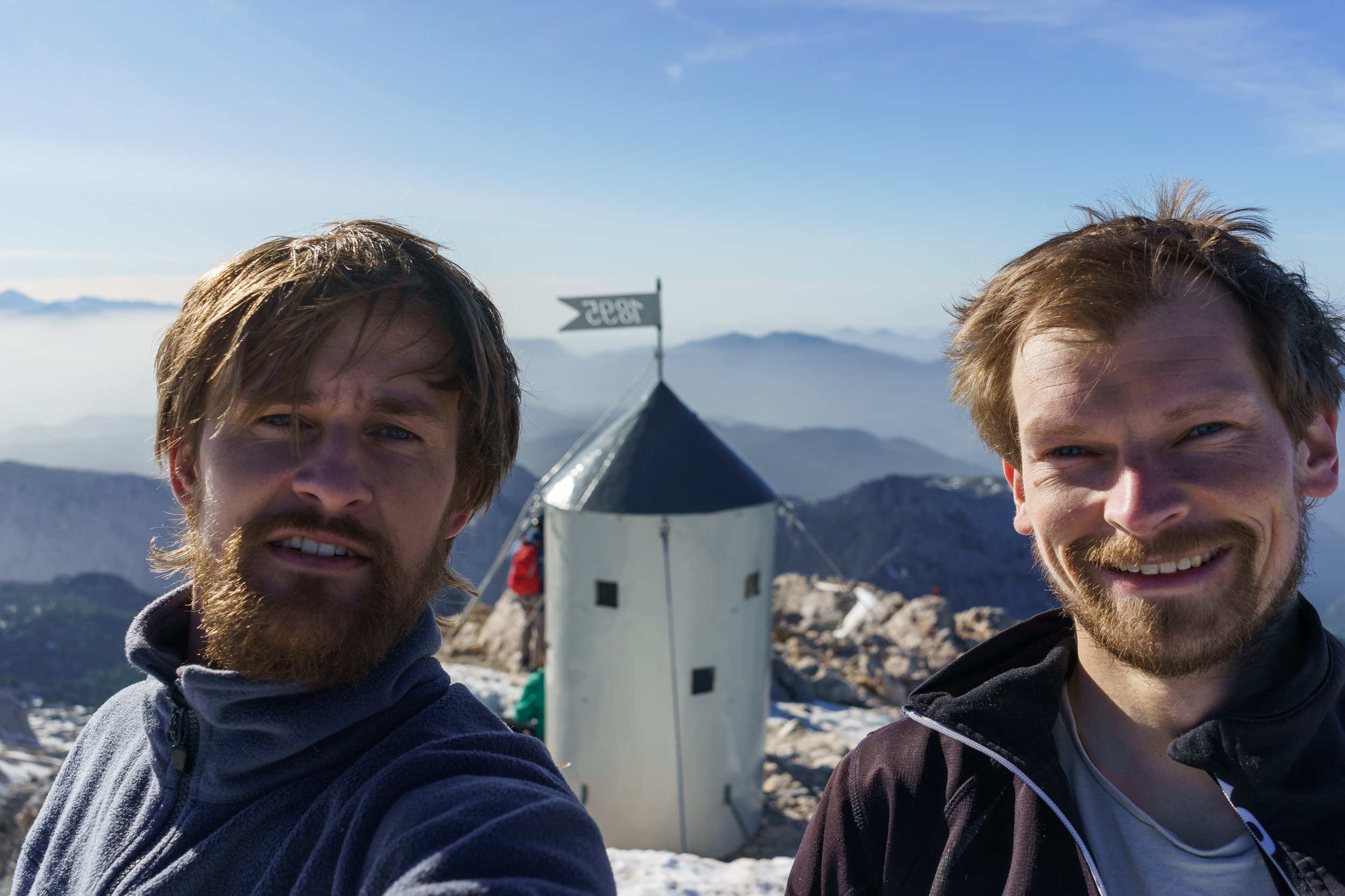 On top of the highest summit in Slovenia, Mt. Triglav (2864 m).