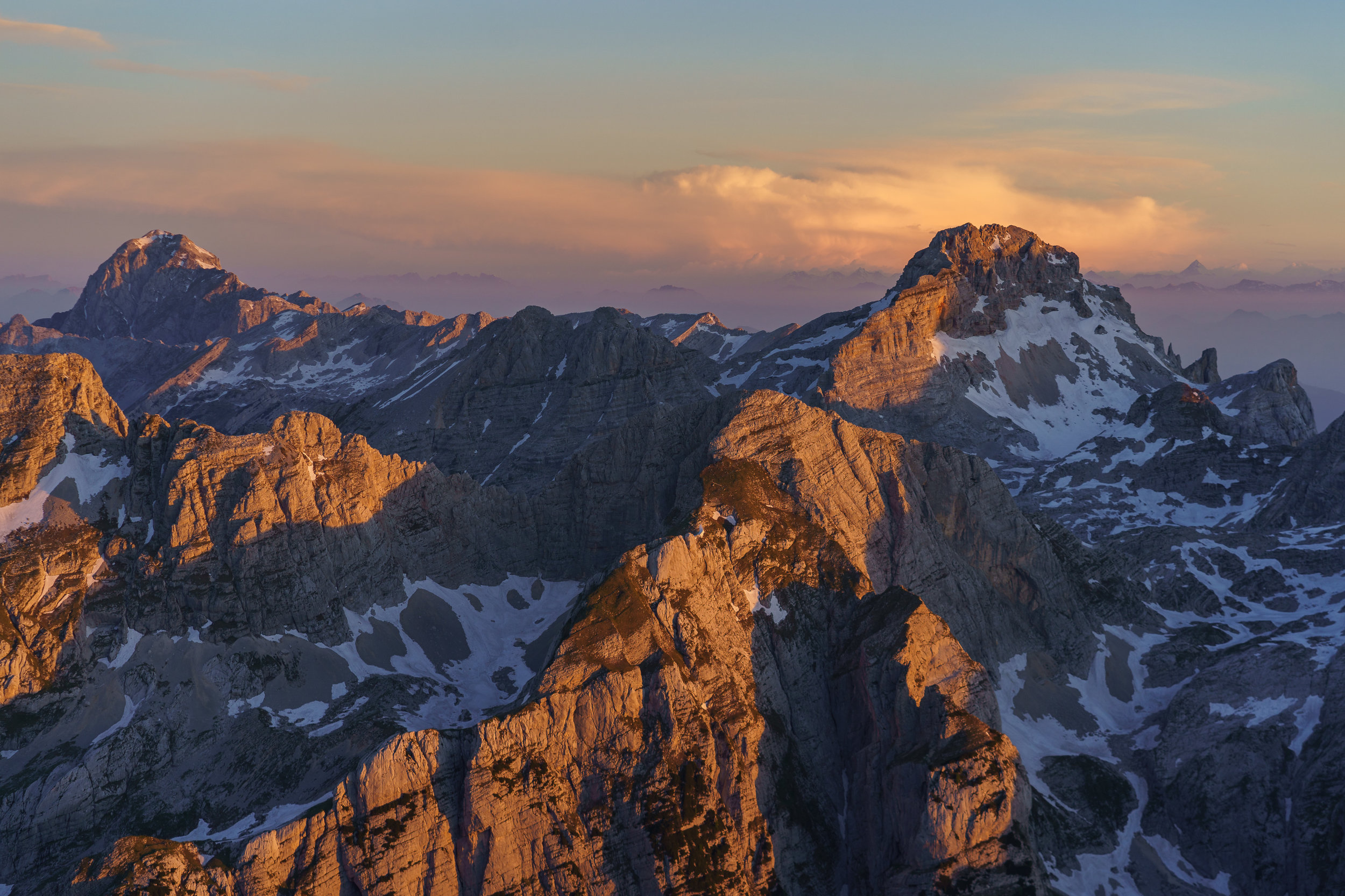 Mt. Mangart and Mt. Razor at sunrise.