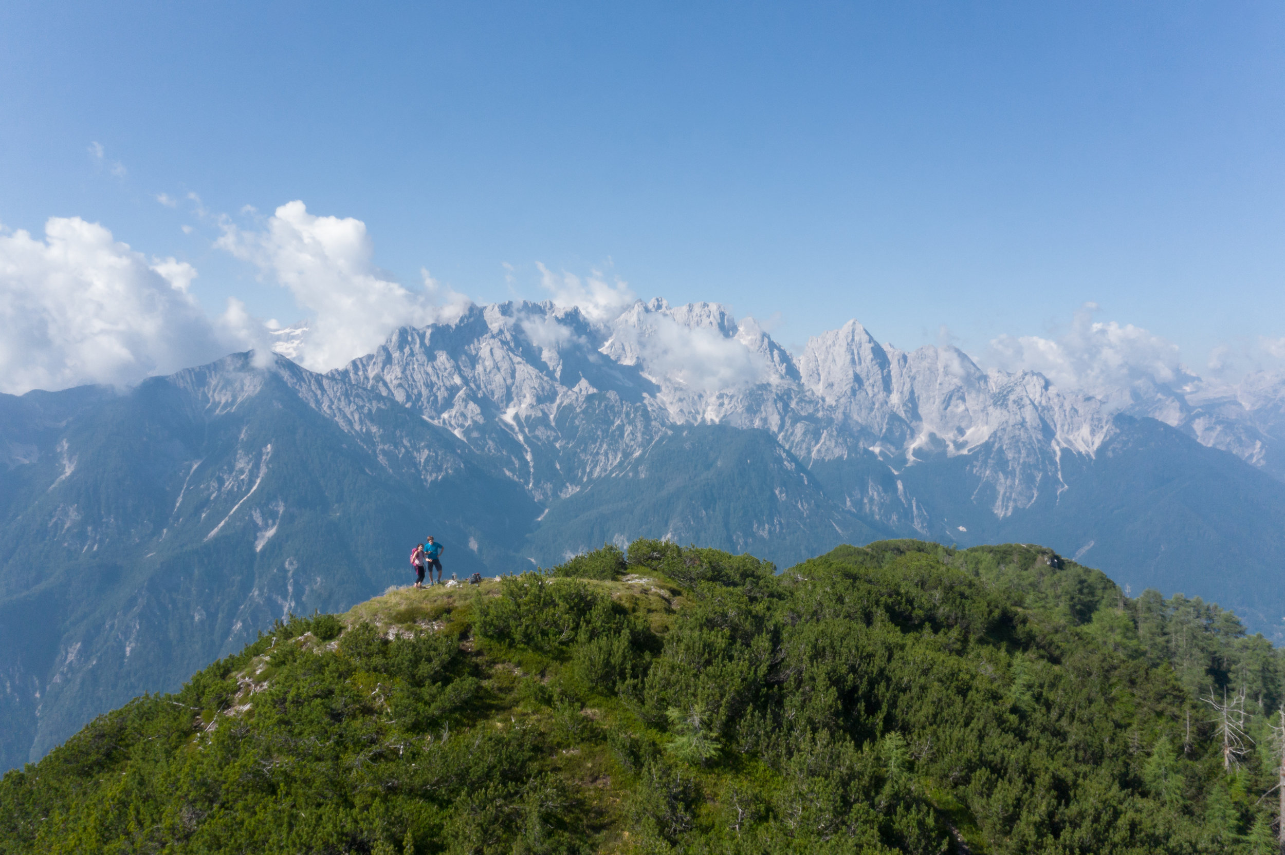 Great view towards the northern walls of the Martuljek Mountain Chain. The High Chicken Summit is only 1828 meters high, but it offers nice views of the landscapes surrounding it.