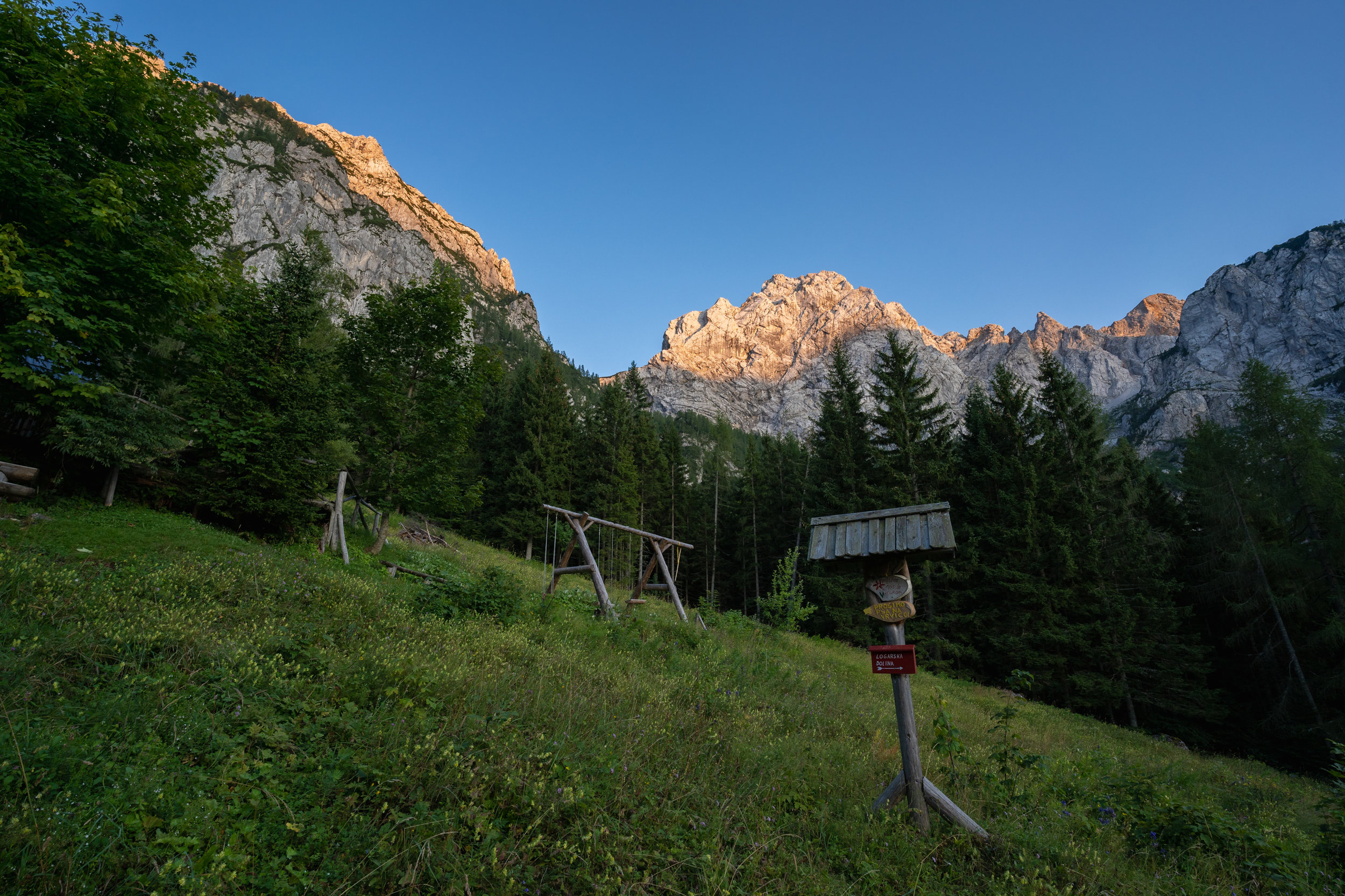 Mount Ojstrica at sunset.