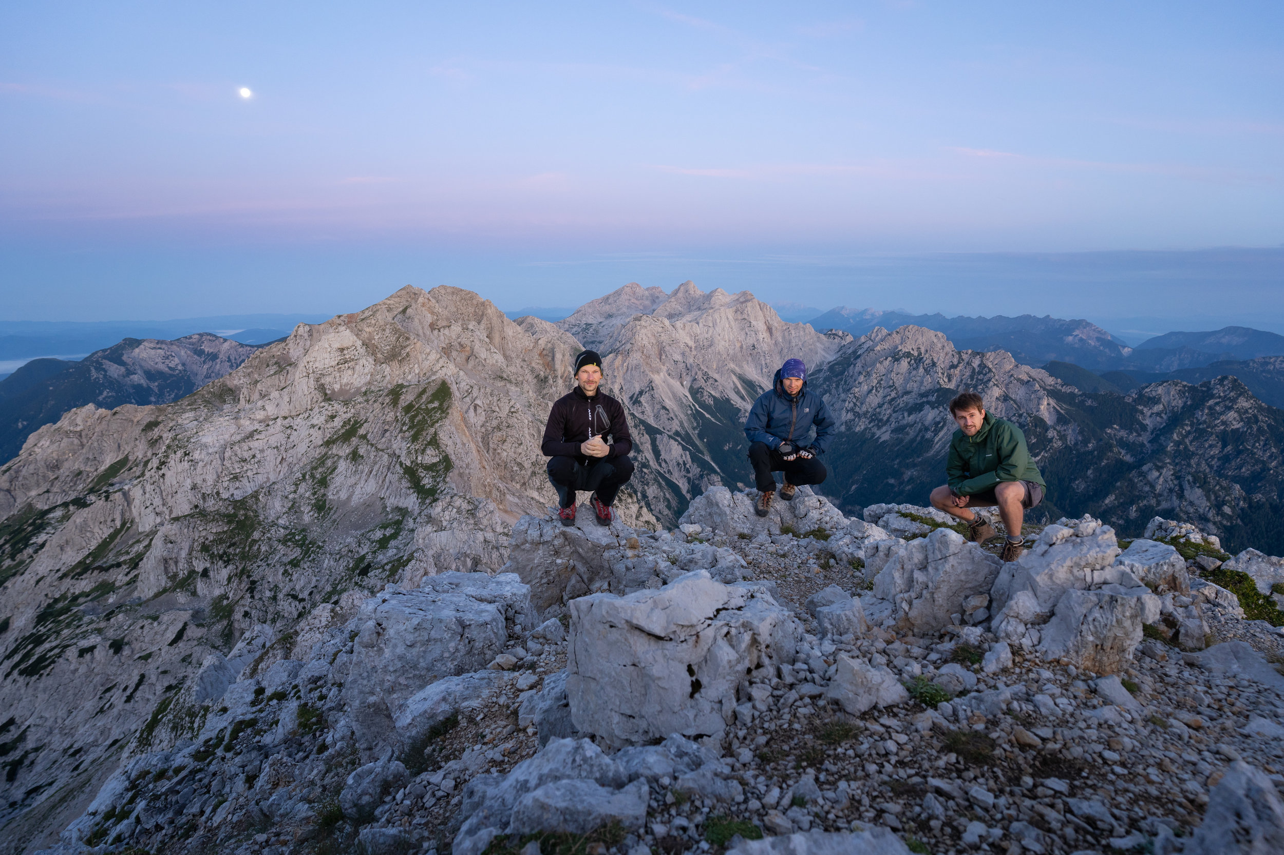 The three of us on top of Mt. Ojstrica (2350 m).