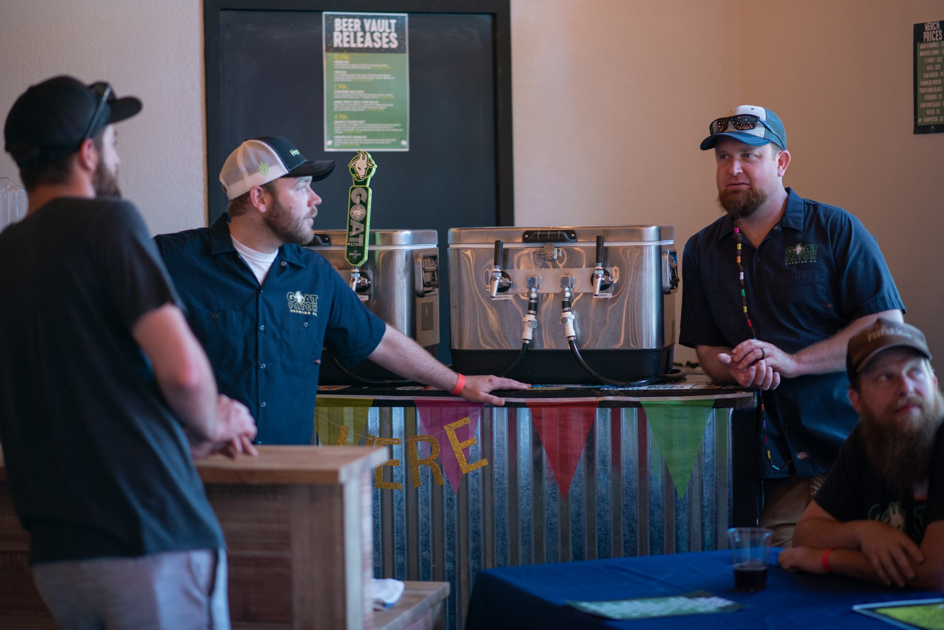 Dylan and Darren were constantly harassed by Ryan from Phantom. Just kidding, they were the gatekeepers for the beer. Photo courtesy Goat Patch Brewing.