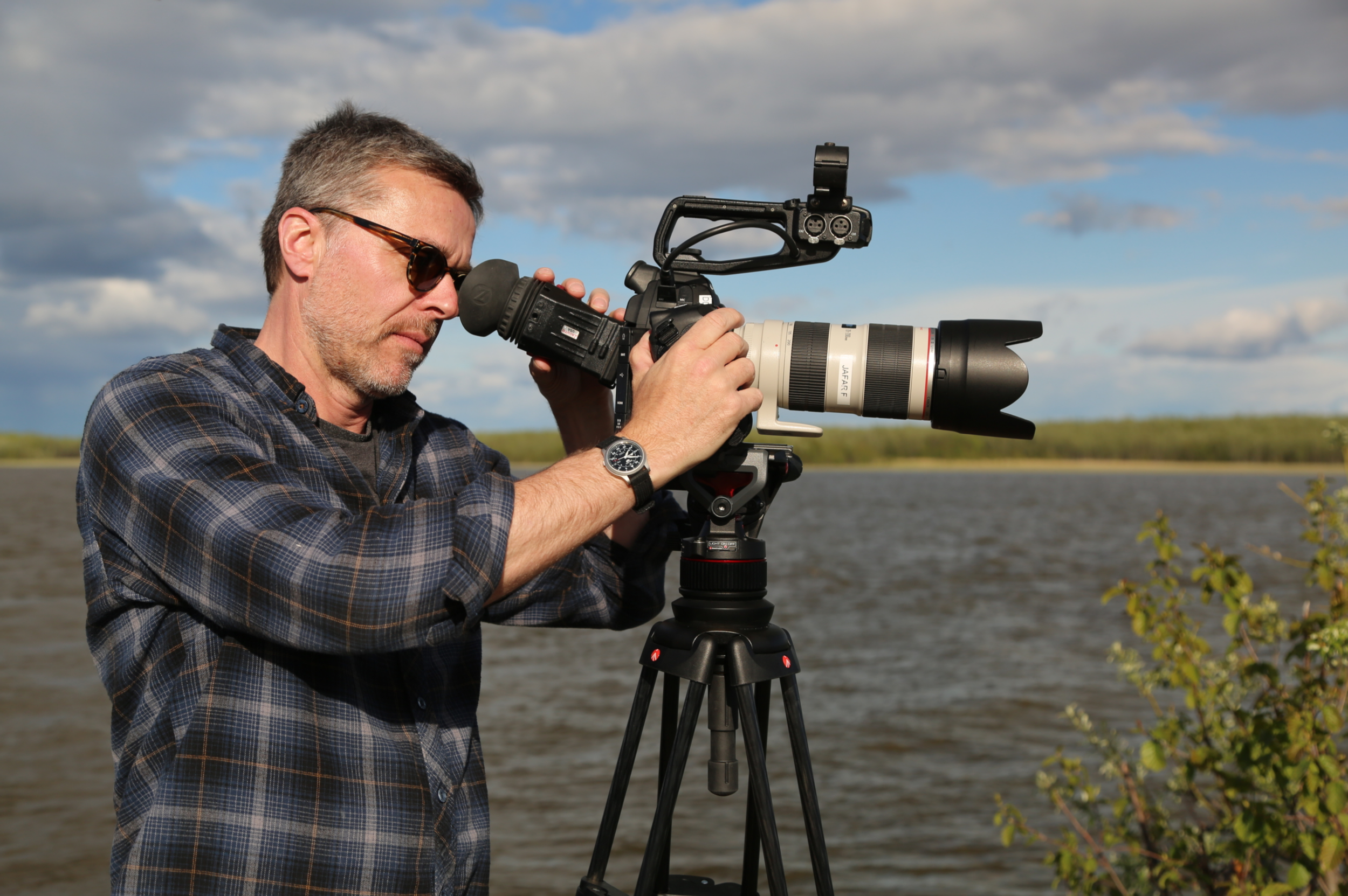 Chris Landry on location in Bethel, Alaska. Photo: Jacqueline Cleveland.