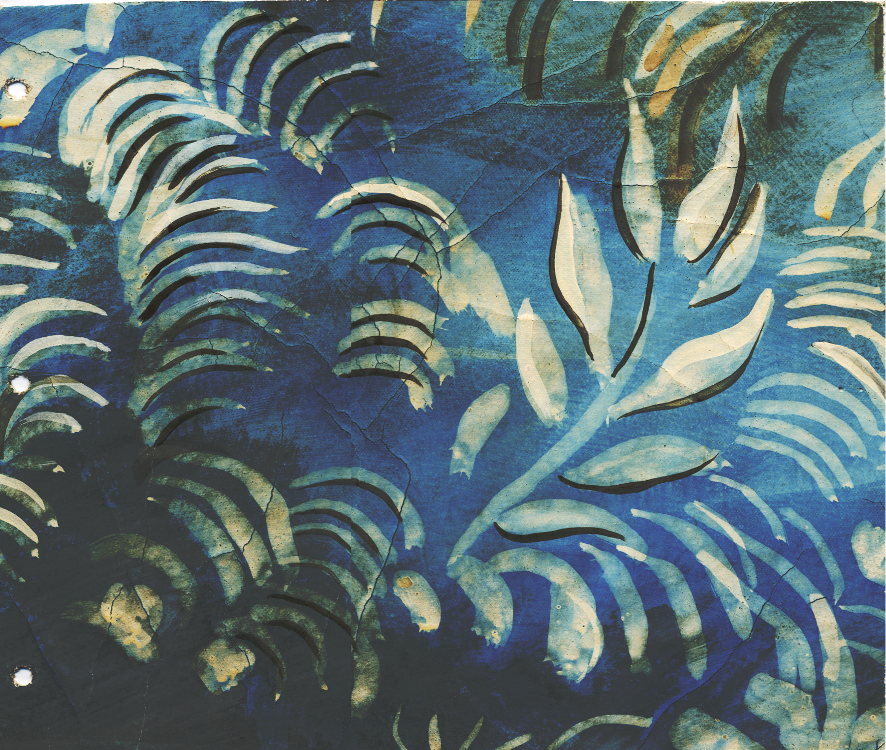 MURAL SAMPLE, INDIGO BACKGROUND