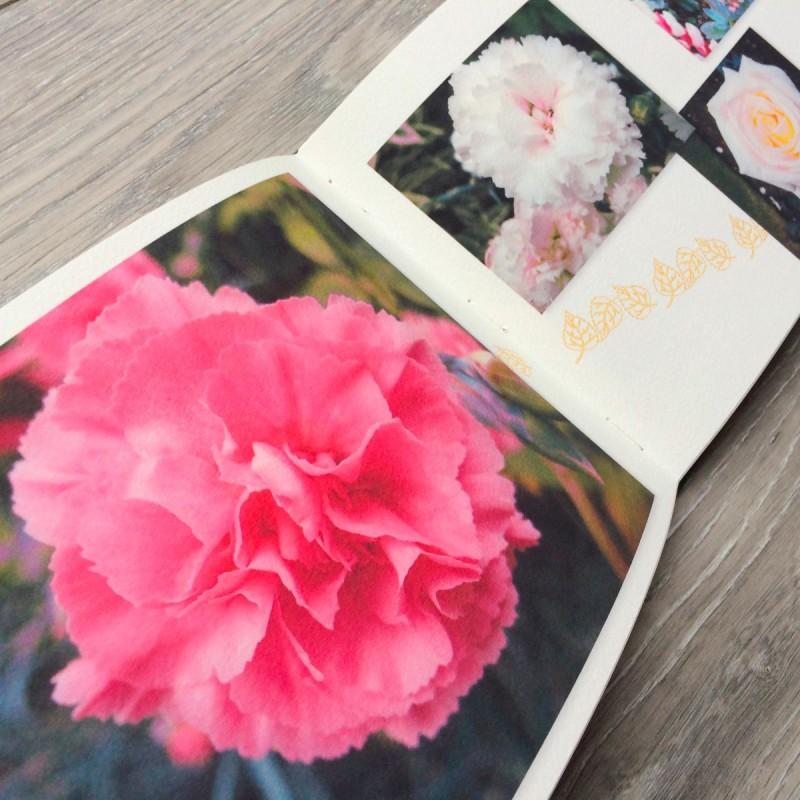 flowers inside printed photo album book handmade in Ireland