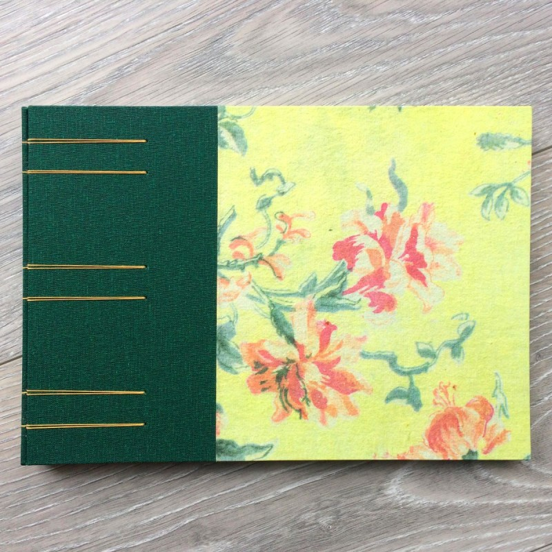 Handmade album with green and yellow cover