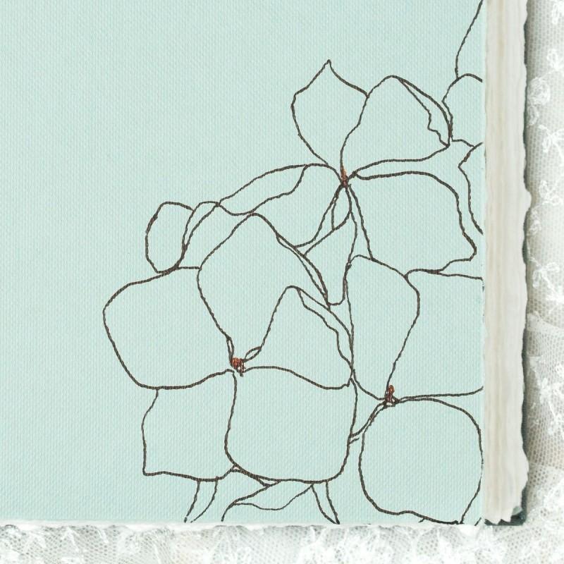 Ink drawing of flowers in wedding album