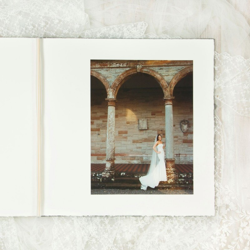 Photograph of bride in handmade wedding album Ireland