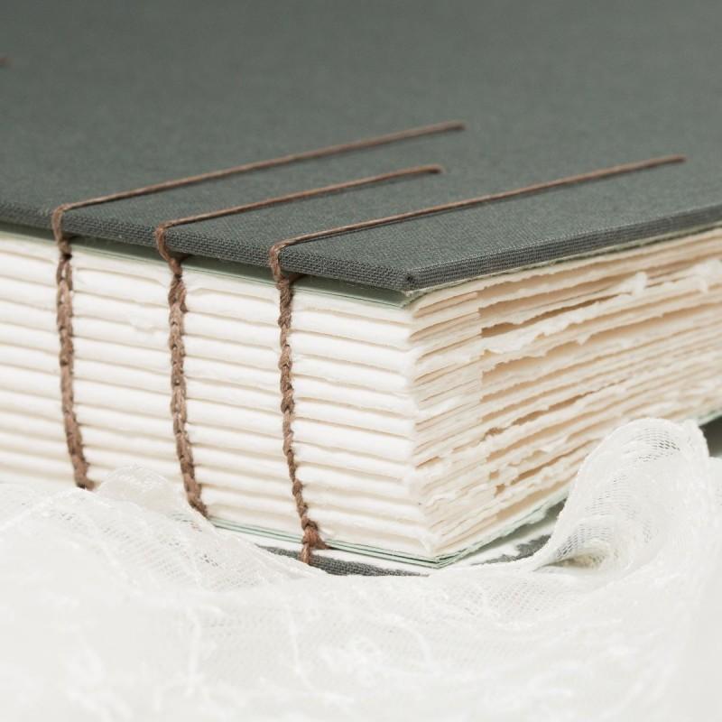 Handbound spine of coptic stitch wedding album
